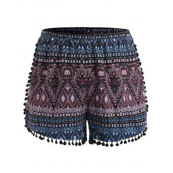 Plus Size Ethnic Print Tassel Shorts - BLACK 3X