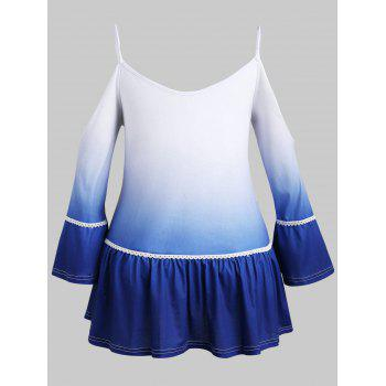 Plus Size Ombre Cold Shoulder T-shirt - BLUE 2X