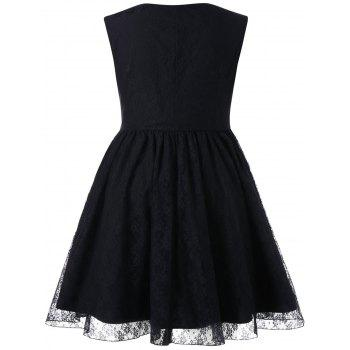 Sweetheart Neck Lace Plus Size Dress - BLACK L