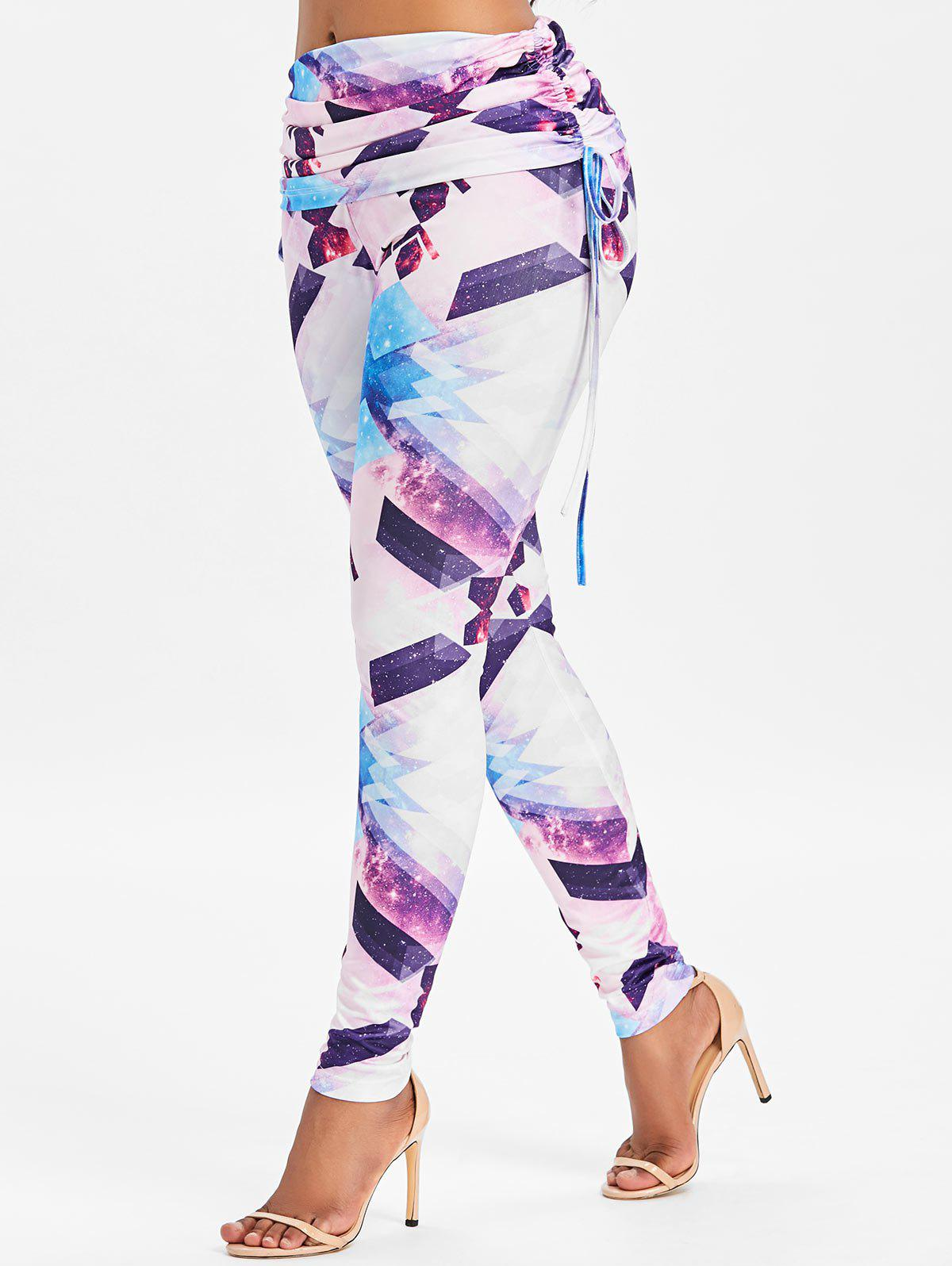 Geometry Printed High Waist Workout Leggings - WHITE M
