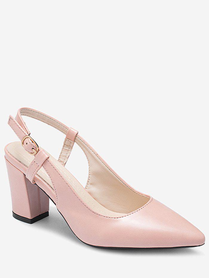 Solid Color Mid Heel Slingbacks Pumps - LIGHT PINK 38