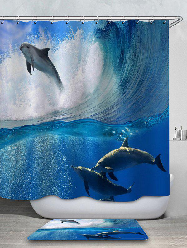 Dolphin Surfing Bath Curtain and Floor Rug Set 2PCS wholesale and retail luxury brushed nickel floor drain grill bath shower tub floor filler grate waste deodorant sealing