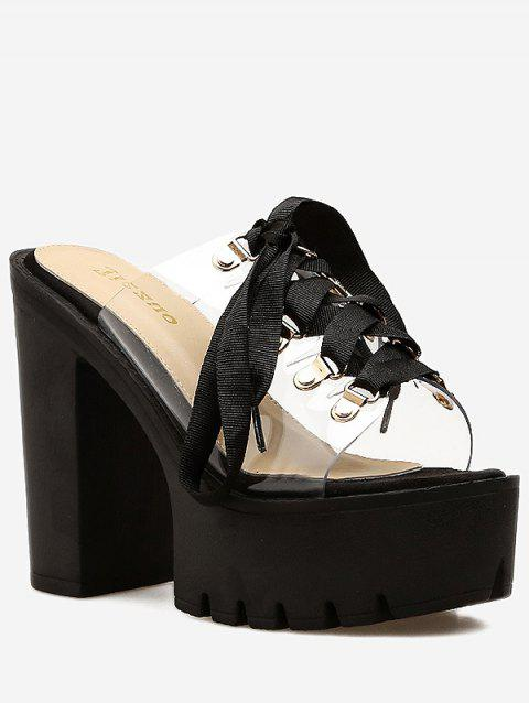 c3754803cd0 2019 Transparent Lace Up Chunky Heel Pumps In BLACK 38