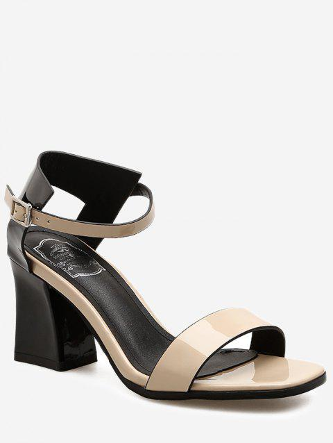 ff4c2215579 2019 Vintage Ankle Wrap Color Block Chunky Heel Sandals In APRICOT ...