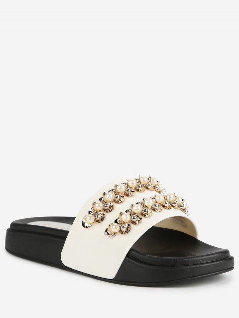 One Strap Faux Pearls Low Heel Slides - WHITE 38