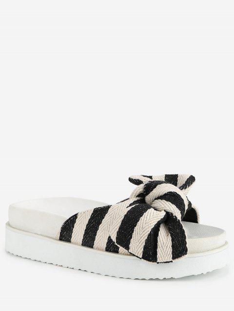 Bowknot Platform Casual Outdoor Slides - WHITE 39