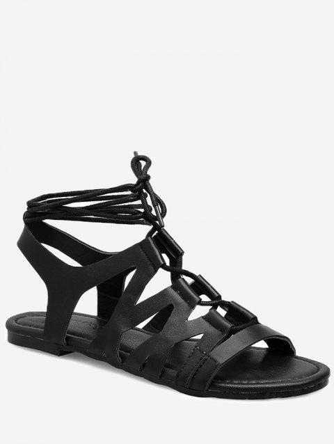 Hollow Out Rome Style Flat Heel Sandals - BLACK 39