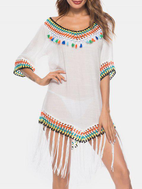 See Thru Fringe Insert Cover Up - WHITE ONE SIZE