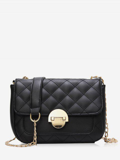 Flapped Quilted Chic Stitching Crossbody Bag - BLACK