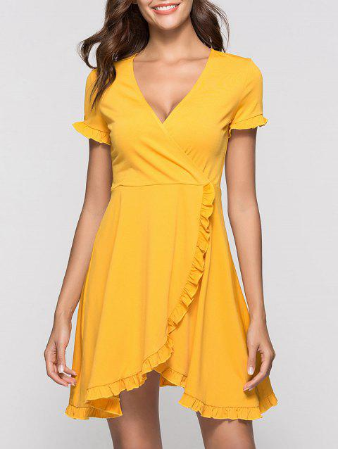 Ruffle Mini Surplice Dress - YELLOW L