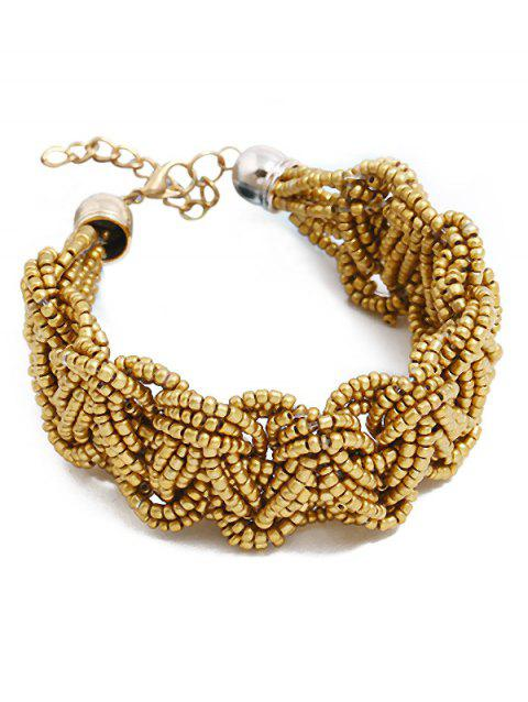 Bohemian Beaded Knitted Bracelet - GOLD