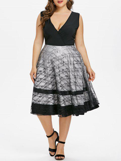 Plus Size Lace Trim Low Cut Party Dress - BLACK L
