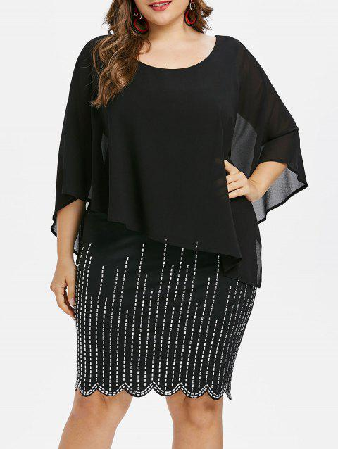 Plus Size Shimmery Capelet Knee Length Dress - BLACK 3X