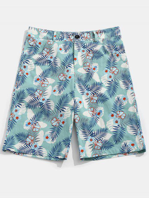 Zipper Fly Flower Leaves Print Shorts - COLORMIX 2XL