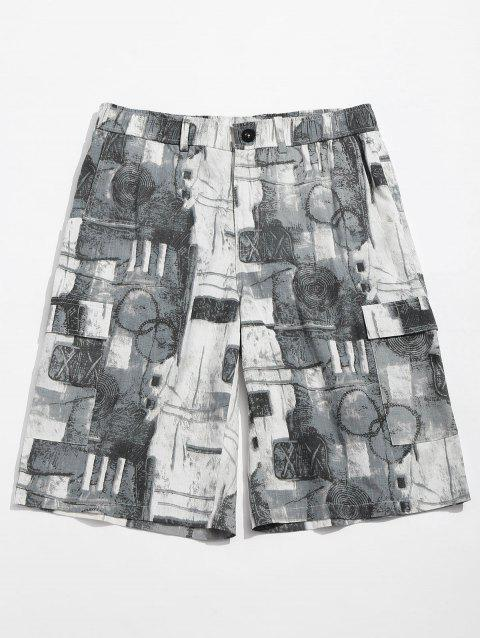 Old Annual Ring Print Casual Shorts - BLUE GRAY M