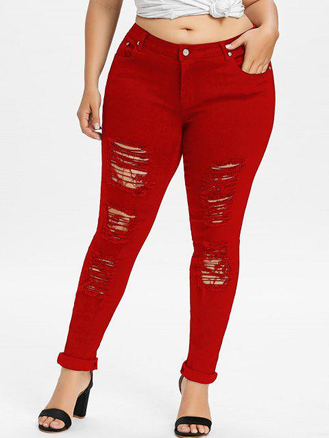 Plus Size Five Pockets Distressed Tight Jeans - LOVE RED 4XL