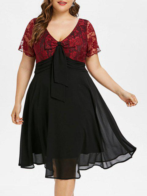 Plus Size Lace Panel Double V Neck Dress - BLACK 2X