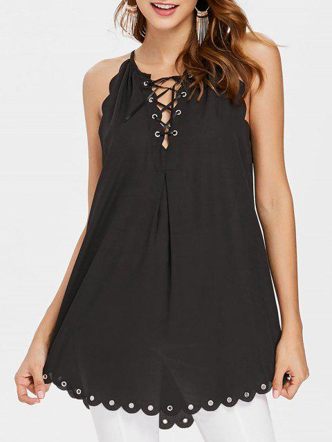 Lace-up Scalloped Cami Top - BLACK M