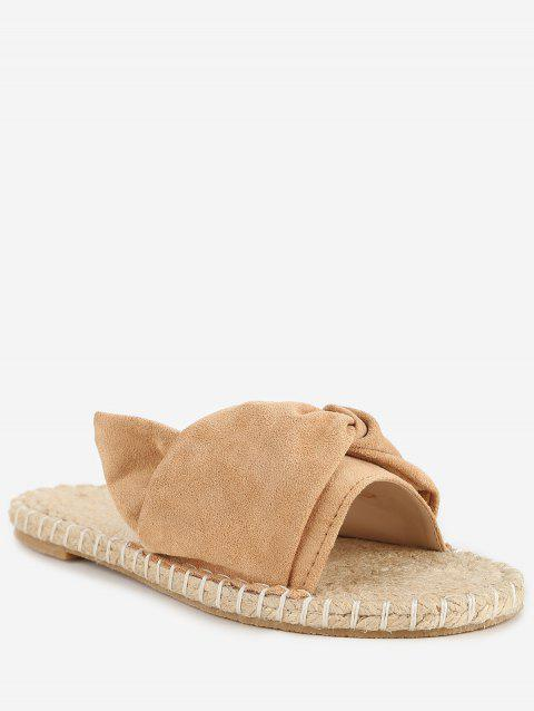 Low Heel Bow Casual Espadrille Slide Sandals - APRICOT 39