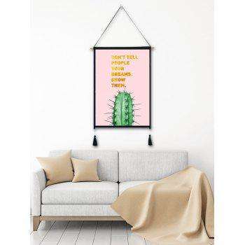 Cactus Print Tassel Wall Art Hanging Painting - MISTY ROSE 1PC:18*26 INCH(NO FRAME)