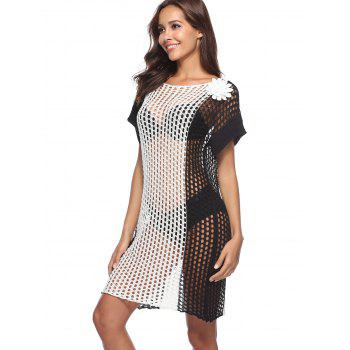 Round Neck Crochet Cover Up - WHITE ONE SIZE