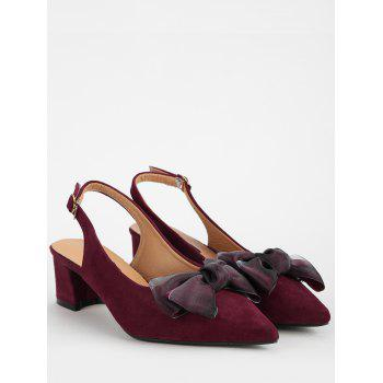 Pointed Toe Bow Mid Heel Chic Pumps - RED WINE 38