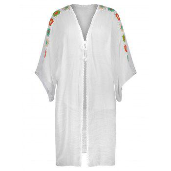 Plus Size Crochet Longline Cover Up - WHITE ONE SIZE