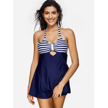 Open Back Striped Swimsuit - MIDNIGHT BLUE M