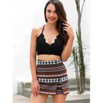 Front Slit Patterned Shorts - multicolor S