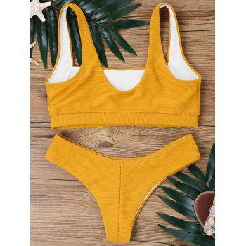 High Cut Ribbed Bikini Set - BEE YELLOW L