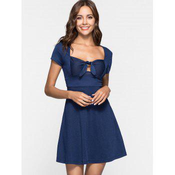 Sweetheart Neck Skater Dress - DEEP BLUE L