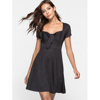 Sweetheart Neck Skater Dress - BLACK M