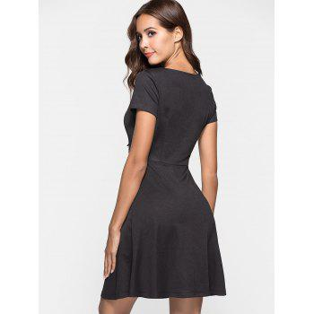 Sweetheart Neck Skater Dress - BLACK L