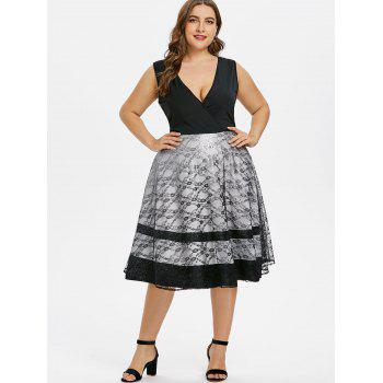 Plus Size Lace Trim Low Cut Party Dress - BLACK 1X