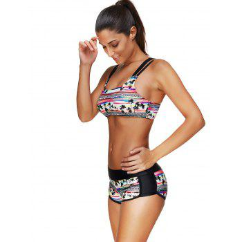 Coconut Palm Bikini Set with Tank Top - BLACK L