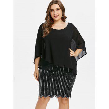 Plus Size Shimmery Capelet Knee Length Dress - BLACK 1X