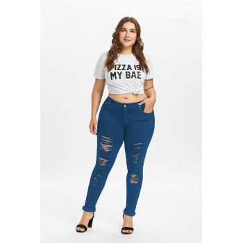 Plus Size Five Pockets Distressed Tight Jeans - BLUE JAY 3XL