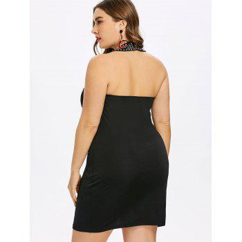 Plus Size Rhinestone Insert Bodycon Dress - BLACK 4X