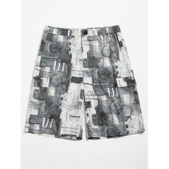 Old Annual Ring Print Casual Shorts - BLUE GRAY XL