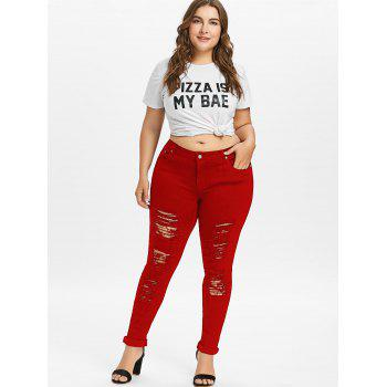 Plus Size Five Pockets Distressed Tight Jeans - LOVE RED XL
