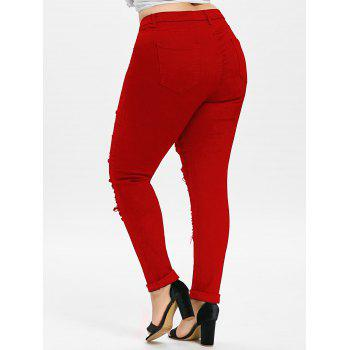 Plus Size Five Pockets Distressed Tight Jeans - LOVE RED 2XL
