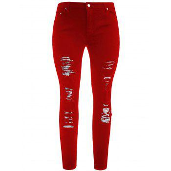 Plus Size Five Pockets Distressed Tight Jeans - LOVE RED 3XL