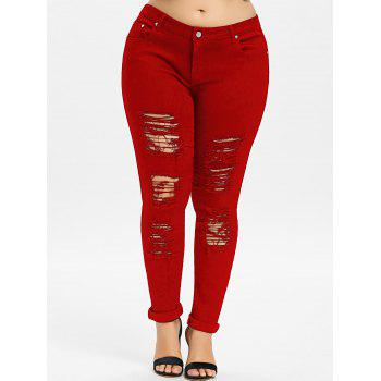 Plus Size Five Pockets Distressed Tight Jeans - LOVE RED 5XL