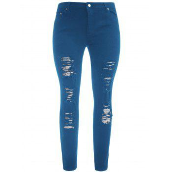 Plus Size Five Pockets Distressed Tight Jeans - BLUE JAY XL