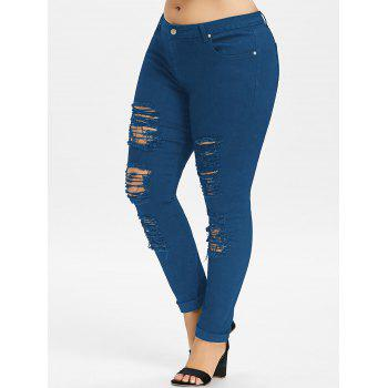 Plus Size Five Pockets Distressed Tight Jeans - BLUE JAY 4XL