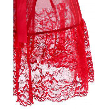 Plus Size Floral Lace Panel Low Cut Babydoll Set - RED 3X