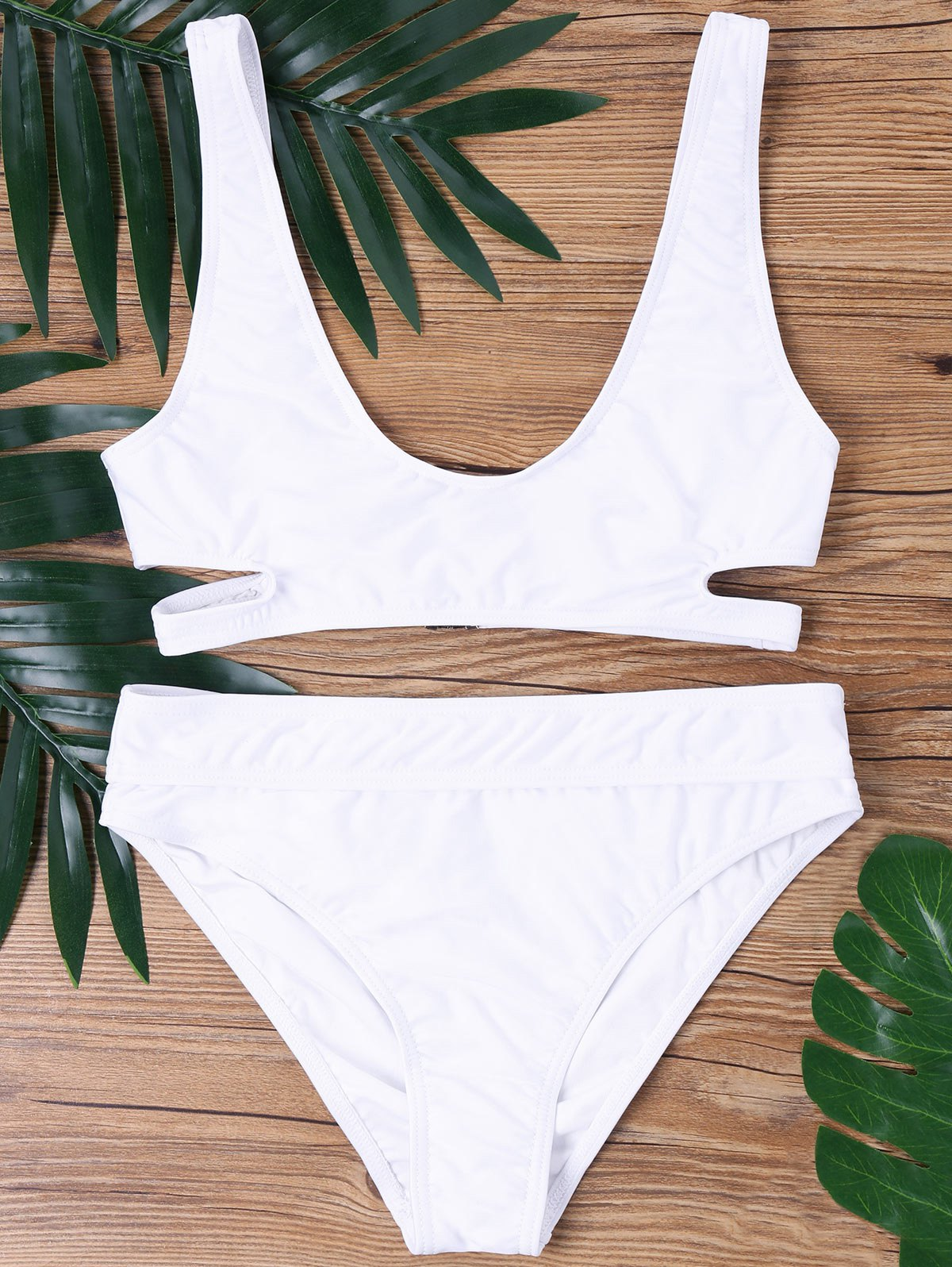 Low Cut Bikini Set - WHITE L