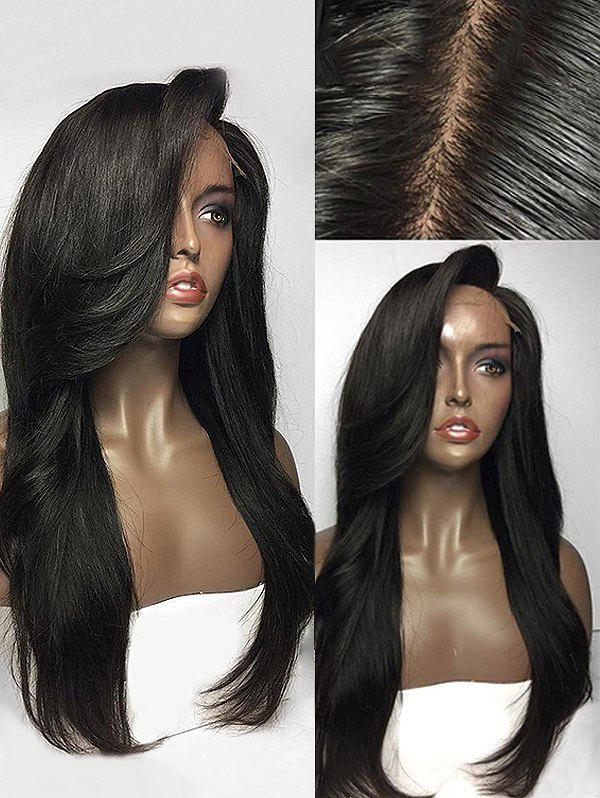 Long Side Parting Lace Front Straight Human Hair Wig - NATURAL BLACK