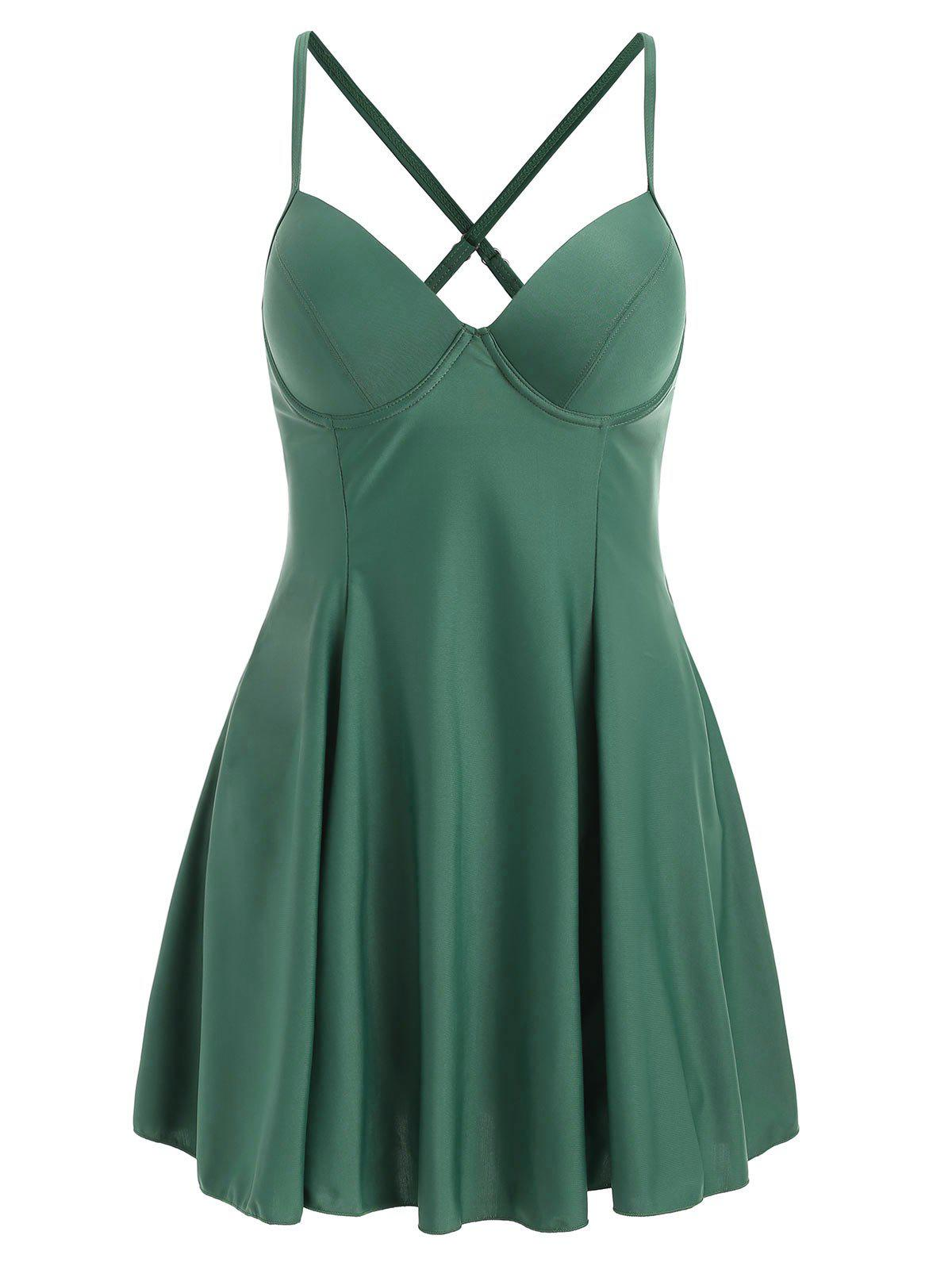 Spaghetti Strap Open Back Tankini Set - SEA GREEN XL
