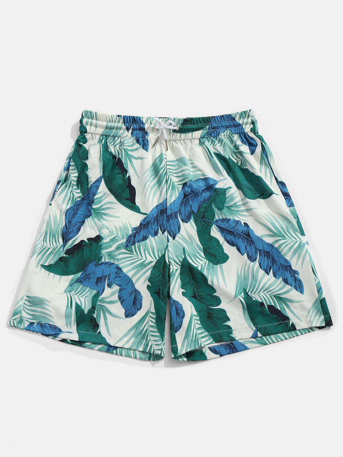 Banana Leaves Print Drawstring Beach Shorts - COLORMIX XL